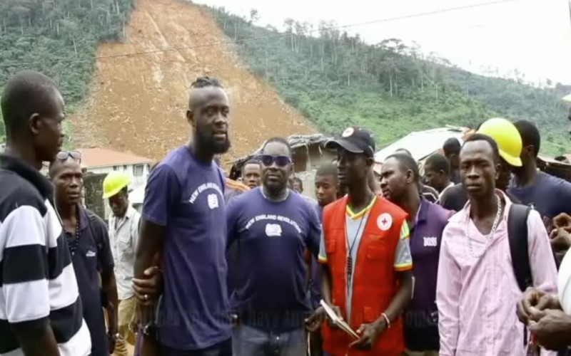 Kei Kamara visits the mudslide victims in Sierra Leone Kei Kamara Heart Shaped Hands Foundation